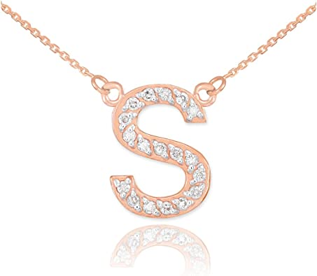Gold Fill S Necklace Rose gold Initial S Gold Necklace Monogram S Necklace S Charm Necklace Script Initial S Necklace,Letter S necklace