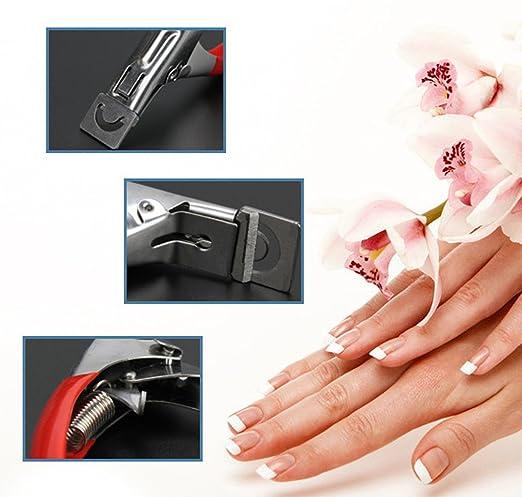 U borde de uñas de arte manicura acrílico Gel Falso Tip Clipper cortador tijeras de uñas (Rojo): Amazon.es: Belleza