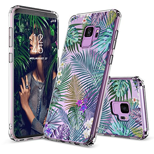 MOSNOVO Case for Galaxy S9, Tropical Palm Leaves Printed Transparent Clear Design Plastic Hard Slim Back Case with TPU Bumper Protective Case Cover for Samsung Galaxy S9 (2018)