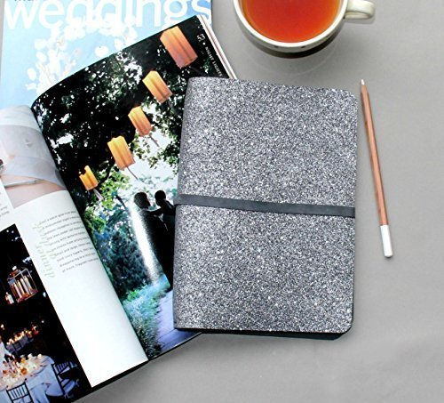 Wedding Planner, A5 Wedding Planning Organization Kit, Modern Gray Glitter Refillable Notebook & Sketchbook Cover, Wedding Planning Binder.