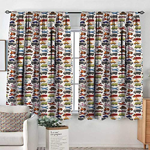 "Price comparison product image RenteriaDecor Boys Room, Boys Bedroom Backout Curtains Motorcycle Bus Crane 72""x84"" Printed Kids Nursery Curtain"