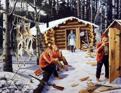 (NEW PLUMBING AT DEER CAMP Signed and Numbered Limited Edition print by Les Kouba 15.25