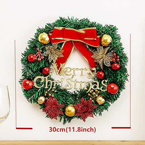 SAILU Christmas Wreath 12 Inch Front Door Ornament Wall Artificial Pine Garland for Xmas Party Decor