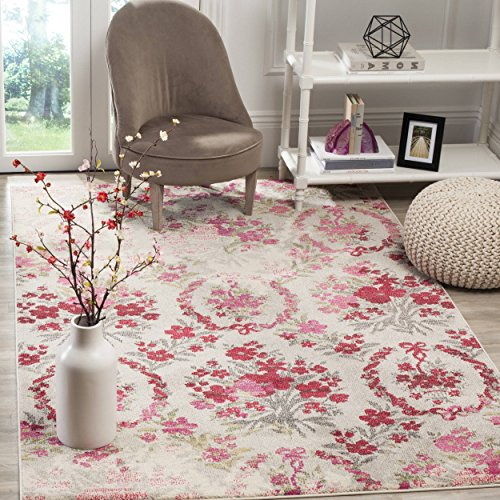 4' x 5'7 Vintage Flower Bouquet Ivory Pink Colorful Distressed Area Rug, Polyester Contemporary Decorative Shabby Chic Floral Bloom Bright Pretty Vibrant, Rectangular Living Room Kitchen Accent Carpet (Bouquet Pretty Pink)