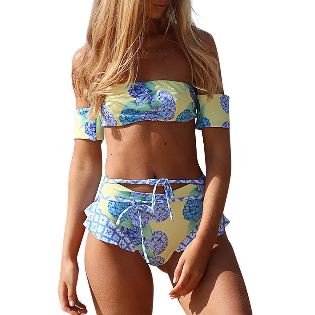 Funic Women Short Sleeve Off Shoulder 2-Piece Bikini Set Floral Print Swimwear Push-Up Padded Swimsuit