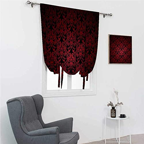 Roman Window Shades Red and Black Room Darken Curtains Antique Old Swirls 48″ Wide