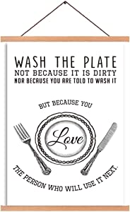 CHDITB Creative Cooking Rule Magnetic Natural Wood Hanger Frame Poster, Canvas Inspirational Reminder-Wash The Plate Painting 28X45cm Lovely Cookers-Plate,Fork,Knife Wall Hanging Art Print For Kitchen Decor