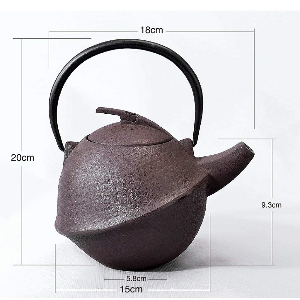 Round Vintage Iron Teapot with Strainer, Cast Iron Teapot with Infuser 0.8L, Suitable for Induction Cooker, Electric Ceramic Stove, Natural Gas, Charcoal Fire by the teapot company (Image #5)