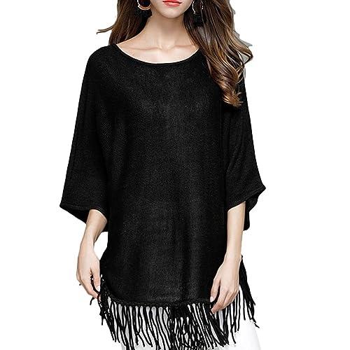 Zhhlinyuan Diseño de moda Casual Ladies Tassel Hem Knit Sweater Shirt Bat Sleeves Tops for Womens