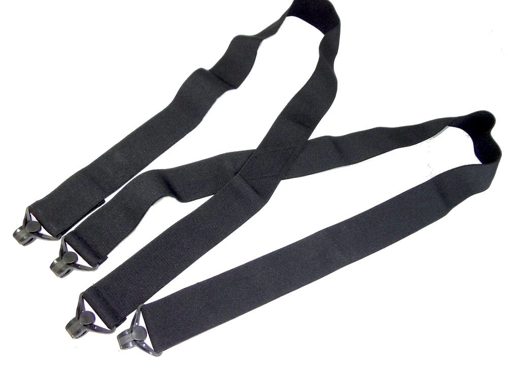Holdup USA made 2'' Wide All Black Undergarment X-back Suspenders Patented super strong composite plastic Gripper Clasps