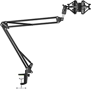 Neewer Adjustable Microphone Suspension Boom Scissor Arm Stand with Universal Microphone Shock Mount Holder for Radio Broadcasting Studio,Stages,and TV Stations, Black(Mic and Pop Filter NOT Included)