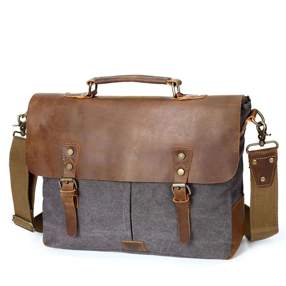 Techecho Simple Retro Zip Canvas Bag Computer Bag Shoulder Bag Messenger Bag Color:Gray Shoulder Bag Large Capacity Leather Computer Bag