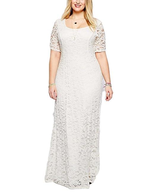 Vestido De Mujer Vintage Encaje Talla Grande Manga Corta Vestido Largos Para Fiesta Bodas Cóctel Blanco