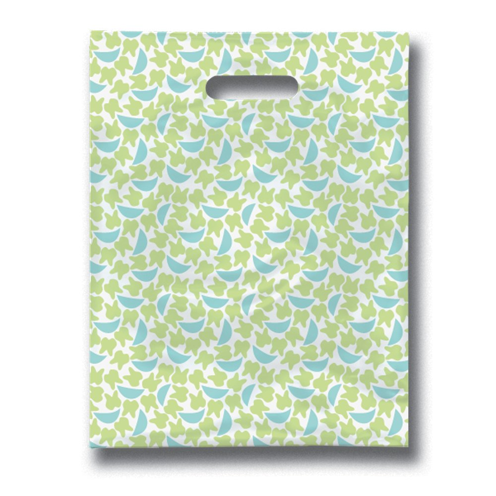 Practicon 11096120 Tooth 'n' Grins Scatter Print Patient Bags, 8'' x 10'' (Pack of 100)