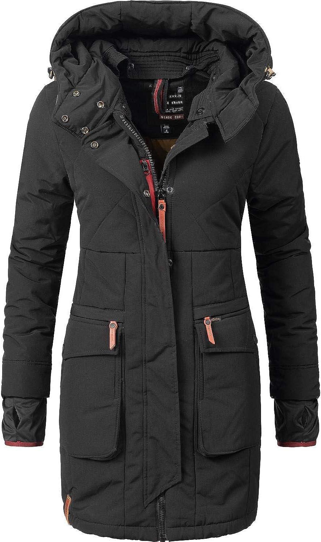khujo Damen Mantel STATEN COLLAR schwarz Baumwolle Übergangsjacke Kurzmantel