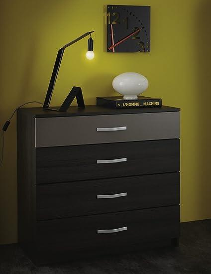 Comoda cajonera de 4 cajones color roble vulcano y basalto para dormitorio de diseño y acabado elegante y moderno. 86x81x42cm