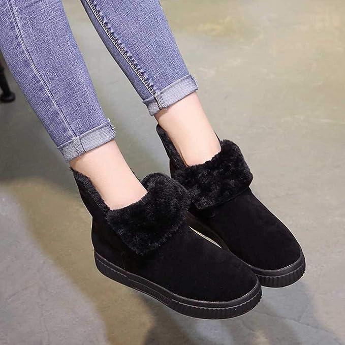 ZHRUI Botas Mujer Zapatos Botines Moda Mujer Sólido Faux Suede Cálido Botas para la Nieve Creepers Plataforma Zapatos Casuales Botines (Color : Negro, ...