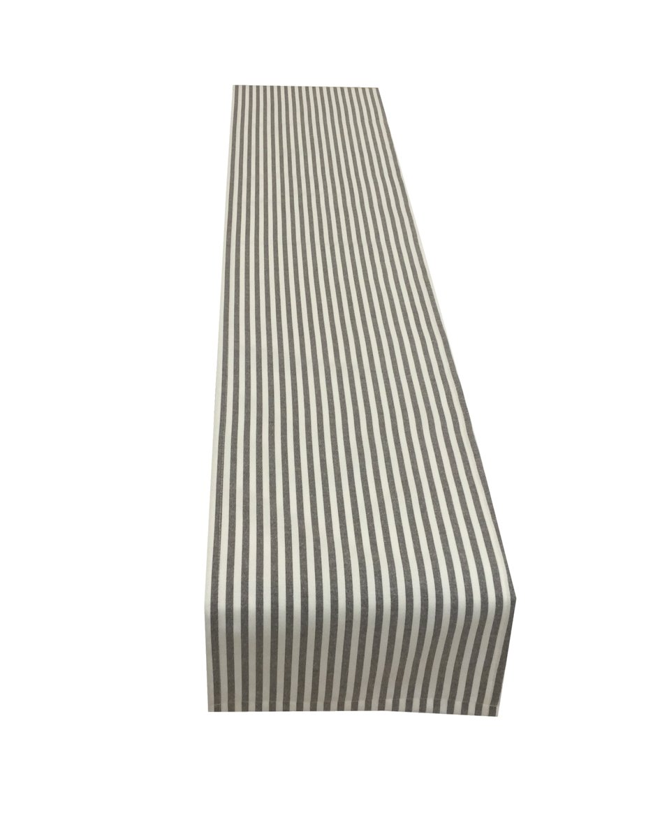 Janelle Design Dovestone woven ticking stripe Table runner/bed runner only, in Charcoal Grey ideal home, caravan, b&b, cafe, hotel, restaurant. Also available wholesale (54