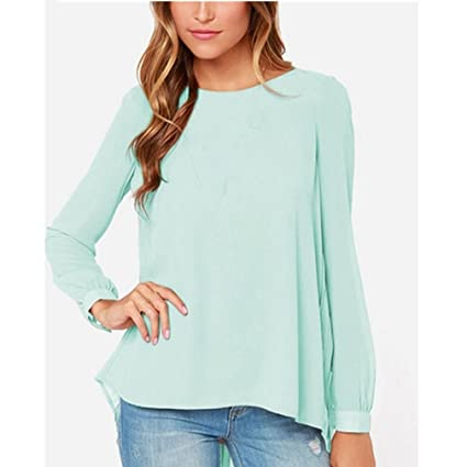 881be5e419 Image Unavailable. Image not available for. Color  Babigirl NEW Women  Blouses Sexy Casual Loose Chiffon Tops Long Sleeve Oversized Solid Shirts Plus  Size