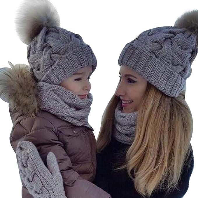 MCYs 2PCS Parent-Child Baby Mutter Strickmütze Wärmer Familie ...
