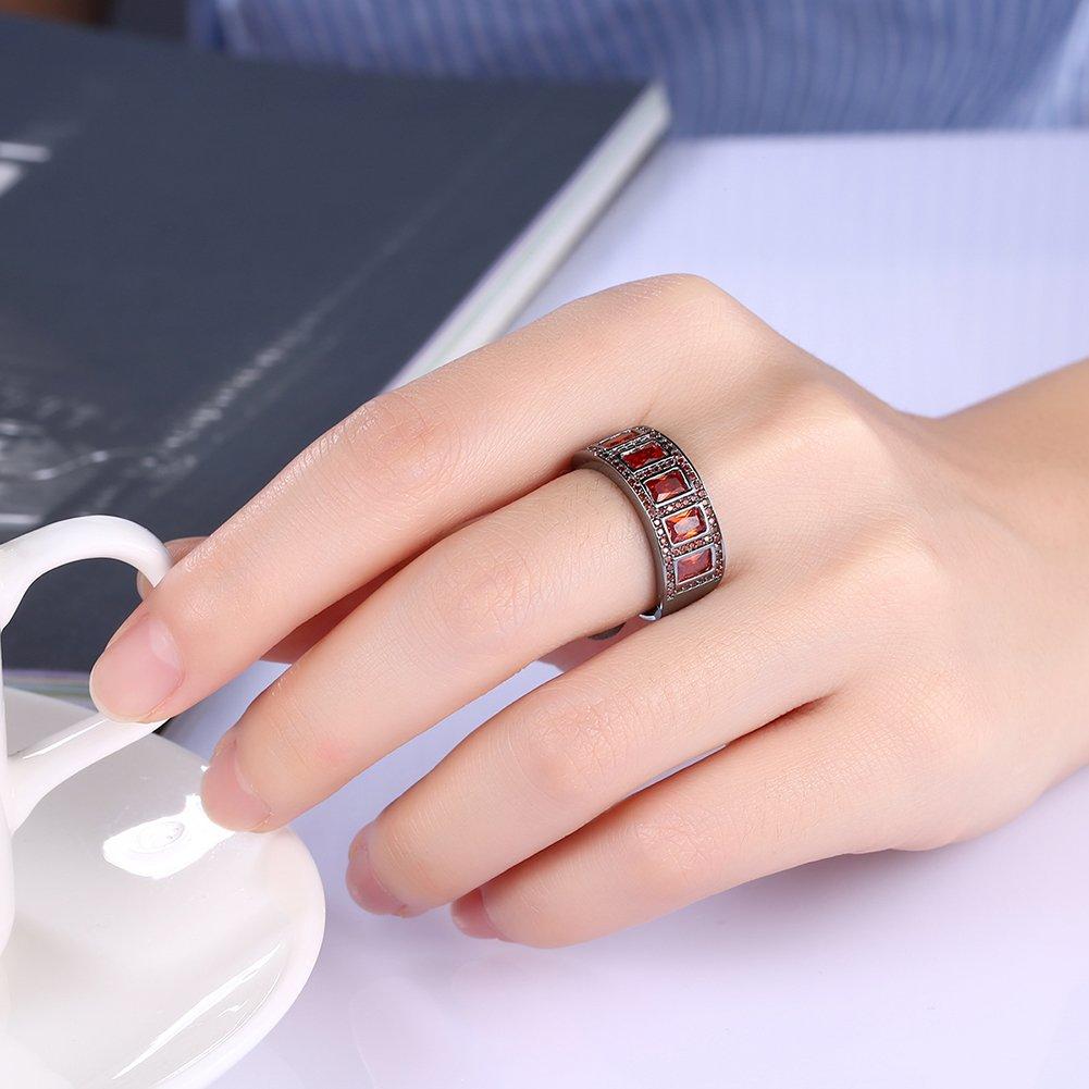 Retro rojo Zircon cúbico boda anillo de compromiso banda de cóctel estilo motorista Hip Hop accesorios: Amazon.es: Joyería