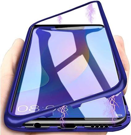 Coque Huawei P Smart 2019,Adsorption Magnétique Coque [Métal Cadre] [Couverture Arrière Transparente ] Housse Alliage D'aluminium Verre Trempé Cas ...