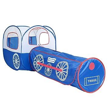 LIAN Tienda de Juegos para Niños Locomotora Azul Túnel Bola de Piscina Bola de Dos Piezas Casa Yurts Desmontables: Amazon.es: Hogar
