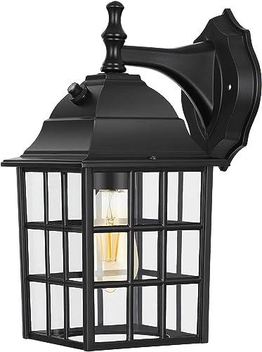 DEWENWILS Dusk to Dawn Outdoor Lighting, Exterior Wall Sconce with Photocell Sensor, E26 Socket, Anti-Rust Waterproof, Black Wall Light Fixture for Porch, Garage, Doorway