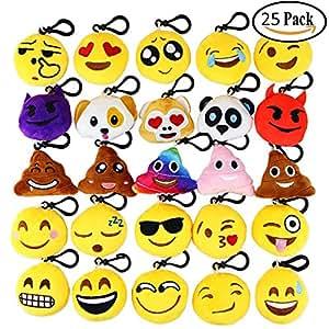 Aiduy Mini Emoji Llavero Emoji encantadora almohada almohadillas Emoticon Llavero Soft Party Bag regalo de relleno de juguete para los niños (25 pcs)