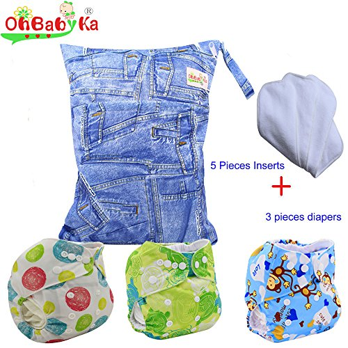 Baby Waterproof Reuseable Nappy Diapers 3pcs, 5pcs Inserts,1 Wet/Dry Bag by Ohbabyka by OHBABYKA