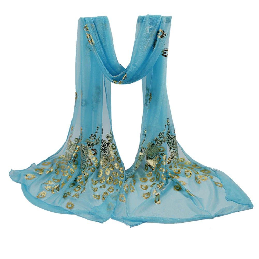 YOMXL Women Peacock Gilded Scarf Shawl Soft Wrap Stole Solid Color Long Scarf Lightweight Head Wrap Shawl Cape (Sky Blue)