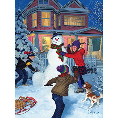 Bits and Pieces - 300 Piece Jigsaw Puzzle for Adults - Snowman's Finishing Touches - 300 pc Christmas Winter Holiday Jigsaw by Artist Tom Newsom