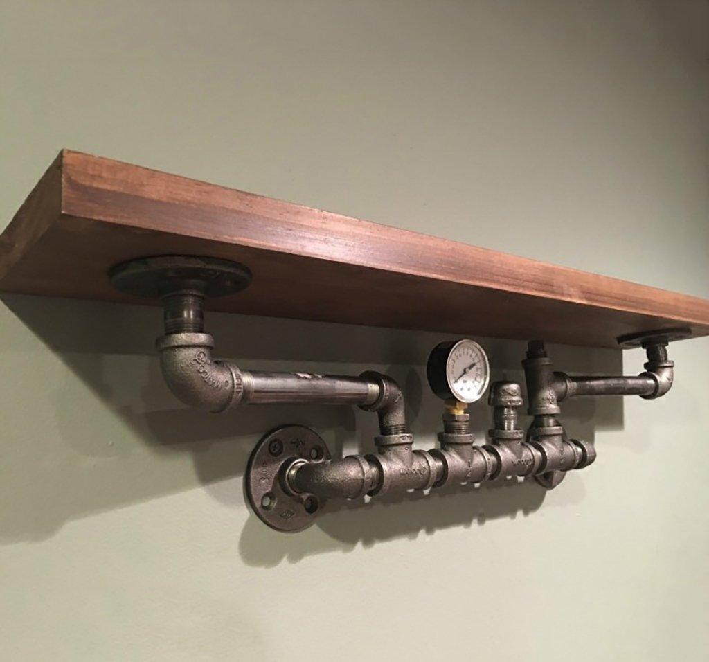 クリエイティブヴィンテージ鍛鉄ホームシェルフLOFTインダストリアルスタイルバーレストランの壁棚 B07SMVMH86