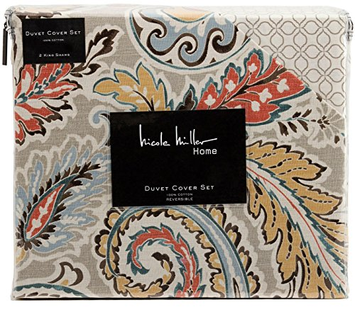 Nicole Miller Home Jada Medallions Red Orange Rust Turquoise Sage Full Queen Duvet Cover 3pc Set Paisley Medallion Reversible Thick Cotton Canvas