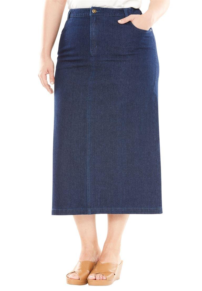 Jessica London Women's Plus Size Classic Cotton Denim Long Skirt Indigo,18