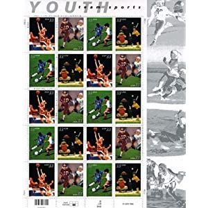 Youth Team Sports, Full Sheet of 20 x 33-Cent Postage Stamps, USA 2000, Scott 3399-3402