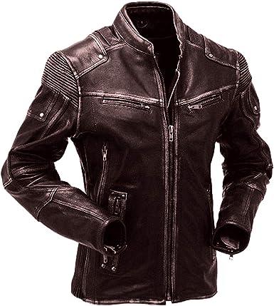 Mens Cafe Racer Black Biker Vintage Motorcycle Real Leather Jacket