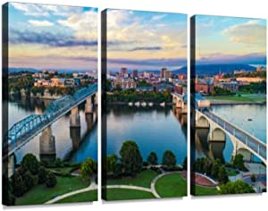 YKing1 Aerial of Chattanooga Tennessee tn Skyline American Weapons Stock Wall Art Painting Pictures Print On Canvas Stretched & Framed Artworks Modern Hanging Posters Home Decor 3PANEL