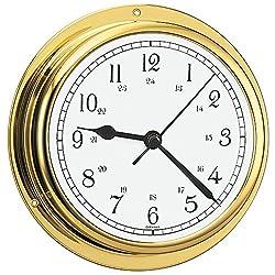 BARIGO Viking Series Quartz Ship's Clock - Brass Housing - 5 Dial [611MSAR]