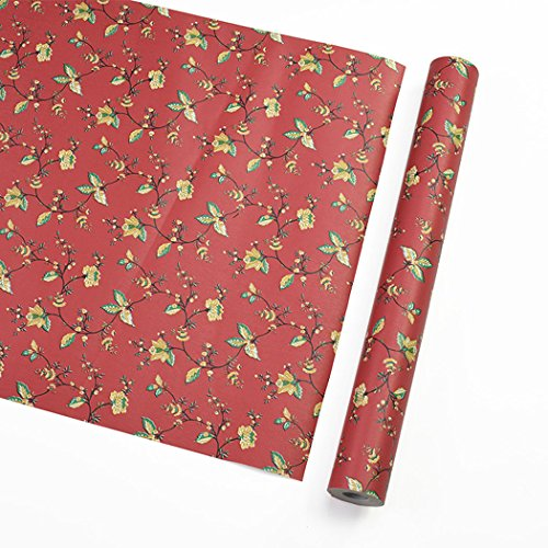 Red Vintage Floral Pattern Contact Paper Shelf Liner Self Adhesive for Cabinets Shelves Drawer Arts and Crafts Decal 17.7x78.7 (Floral Wallpaper Patterns)