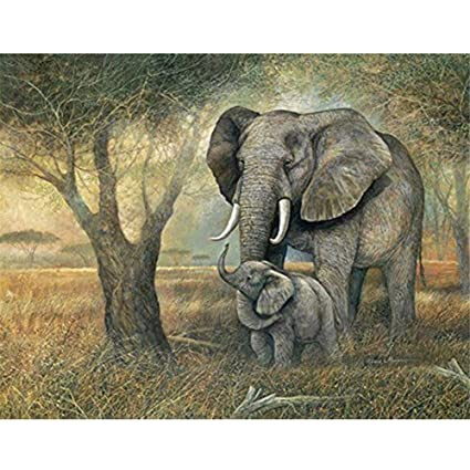 Elephant Animal 5D Full Drill Diamond Painting Cross Stitch Embroidery 40x30cm