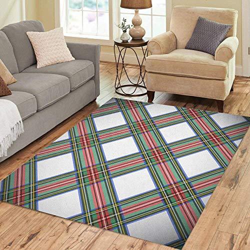 Pinbeam Area Rug Green Tartan Modern Dress Stewart Scottish Plaid Blue Home Decor Floor Rug 3' x 5' Carpet