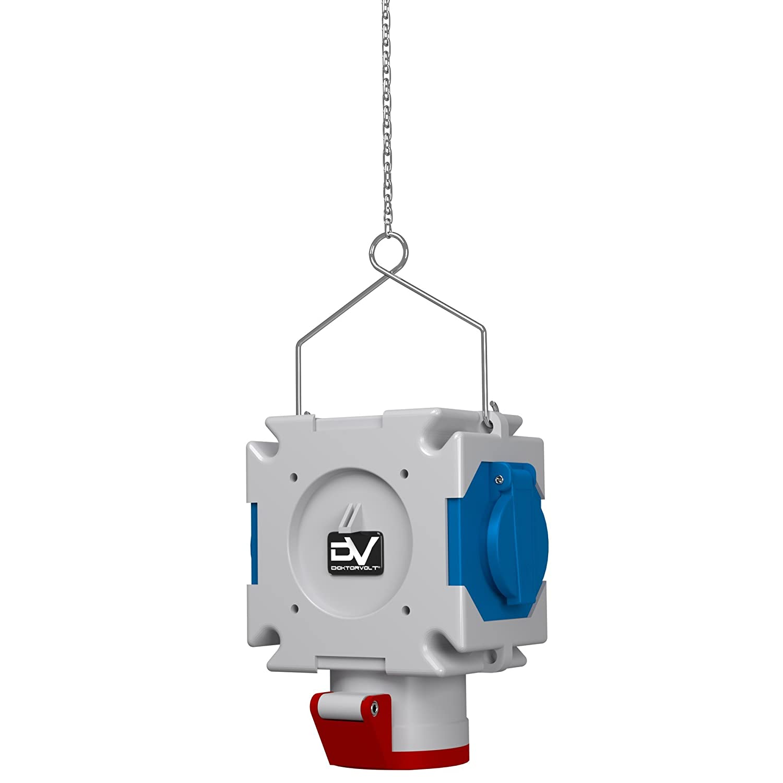 Energiew/ürfel Stromverteiler mDV 1x16A//5P 2x230V mit 1,5m Verzinktkette Verteiler Kreuzverteiler 2695