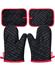 DEIK Oven Mitts and Potholders Set 4 Pieces, Heat Resistant Kitchen Mitts with Cotton Lining, Non-slip Silicone Potholder for Cooking, Baking, Grilling, Holding Pot, Black