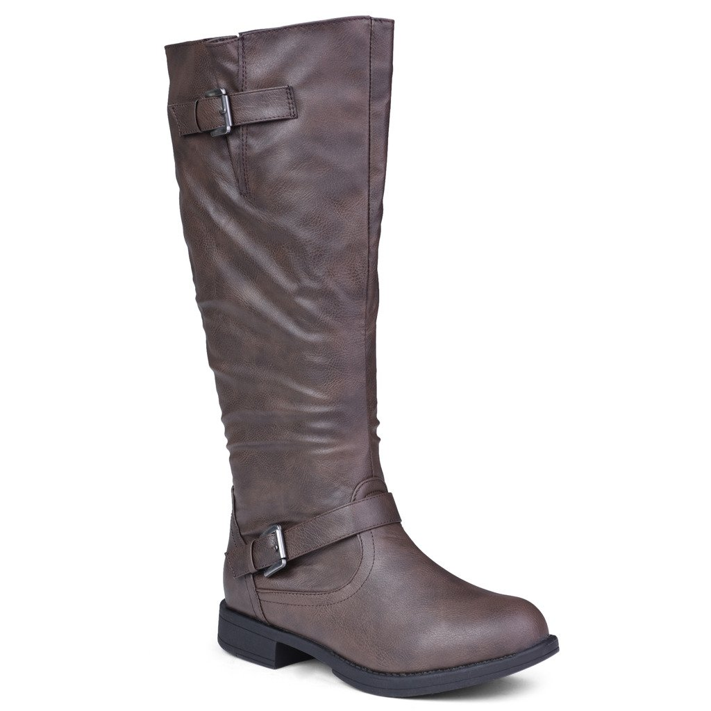 Twisted Women's Amira Wide Calf Knee-High Riding Boot- BROWN, Size 12