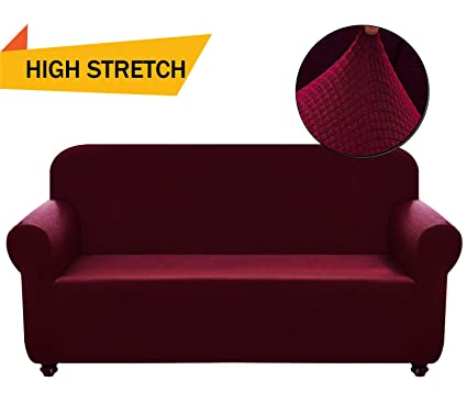Chelzen Stretch Sofa Covers 1-Piece Polyester Spandex Fabric Living Room  Couch Slipcovers (XL Sofa, Wine Red)