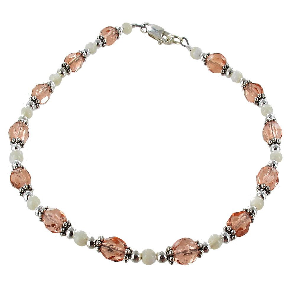 Timeless-Treasures Peach Czech Fire Polished Glass, Mother of Pearl & Sterling Ladies Beaded Anklet with Daisies - 12''