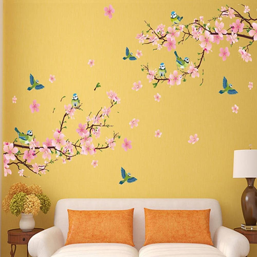 Amazon.com: Alicemall Floral Wall Sticker Wonderful Blossom Peach ...
