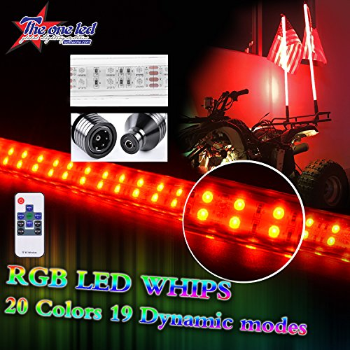 LED Light Whip TheOne Super Bright Double Rope RGB with Upgraded Quick Connect LED Sand Flag Antenna for Polaris RZR UTV ATV Racing Motorcycle Offroad Truck Boat (5FT, RGB) ()
