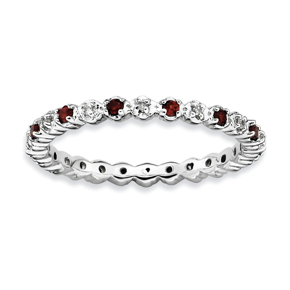 Sterling Silver Stackable Expressions Garnet & Diamond Ring by Jewels By Lux